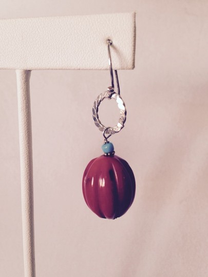 Other Red Coral, Turquoise & Sterling Silver Earrings
