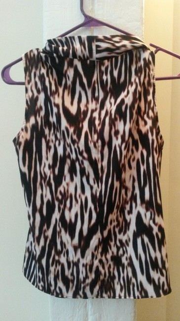 Calvin Klein Sleeveless Scoop Neck Cowlneck Animal Print Top leopard