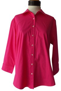 Bay Studio 3/4 Sleeve Button Down Shirt Hot Pink