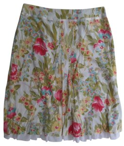 Emma James Skirt White with Multi Colored Floral Print