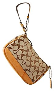 Coach Logo Logo Leather Wristlet in Beige w/Logo Fabric