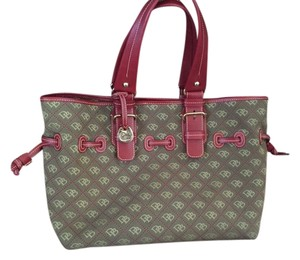 Dooney & Bourke And Travel Brown Leather Red Tote in Brown/Cream/Brick
