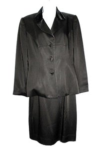 KELLY GRAHAM KELLY GRAHAM VELVET & SATIN 2-PC. BLACK COCKTAIL DRESS SUIT 10