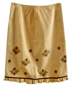 Ann Taylor LOFT Embroidered Ruffle Skirt tan