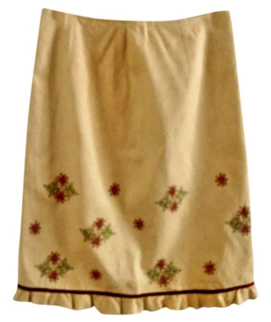 Ann Taylor LOFT Embroidered Ruffle Cotton Skirt tan