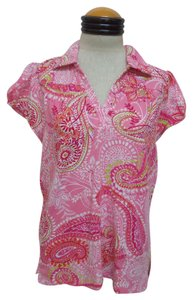 Caribbean Joe T Shirt Pink and White Paisley Print