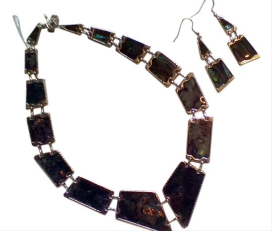 "Other Handcrafted Artisan ""Black Abalone"" and Silver Graduating Necklace & Earring Set!"