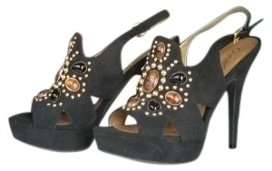 Carlos by Carlos Santana Dancing Wedding Dinner Out Casual Studded Black Suede Platforms