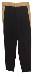 INTERMIX Track Elastic Waist Clothing Designer Collection Style Fashion Pullon Trouser Pants Black & Tan