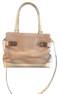 Salvatore Ferragamo Canvas Leather Cross-body Vintage Satchel in Off White/ Khaki