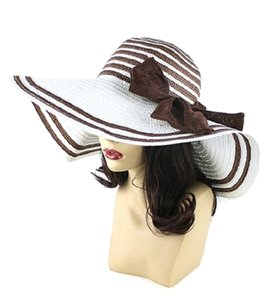 FASHIONISTA White Brown Bow Accent Beach Sun Cruise Summer Large Floppy Dressy Hat Cap
