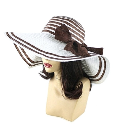 Other FASHIONISTA White Brown Bow Accent Beach Sun Cruise Summer Large Floppy Dressy Hat Cap