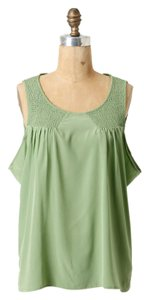 Anthropologie 100% Silk Button Back Sleeveless Nwot Top Green