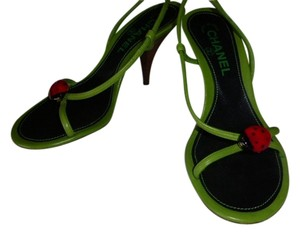 Chanel GREEN LEATHER & RED LADYBUG Sandals