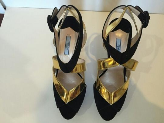 Prada Suede Metallic Sals Wedding Gifts For Her Sexy Black and gold Sandals
