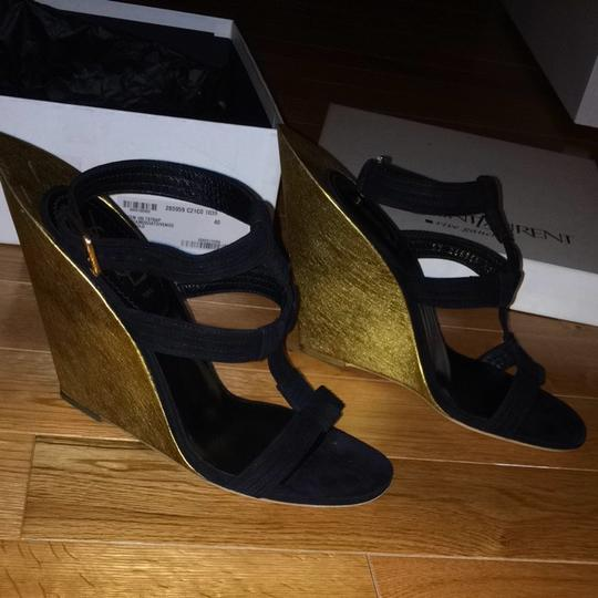 Saint Laurent Suede Holiday Black With Gold Wedge Sandals