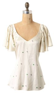 Anthropologie 100% Silk Belted Cinched Waist Flutter Sleeves V-neck Top Ivory