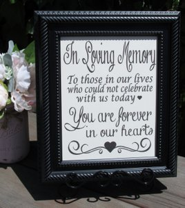 Rustic Vintage Memory Table Wedding Sign-framed In Beautiful Black Frame-11x13