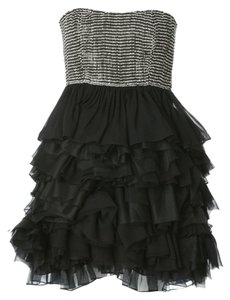 Alice + Olivia Strapless Silk Beaded Tiered Dress