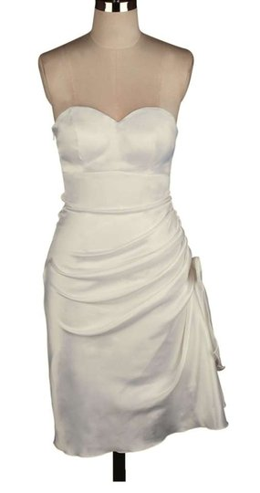 Ivory Satin Polyester Strapless Bunched Bow Size:3xl Feminine Wedding Dress Size 26 (Plus 3x)