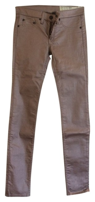 Item - Copper Coated And Metallic Bronze Denim Pants Straight Skinny Jeans Size 25 (2, XS)