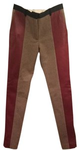 Céline Leather Wool Legging Couture Fashion Style Designer Satin Lined Lambleather 4 27 Skinny Pants Red & Beige