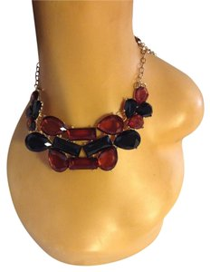 Other Various Shapes Brown and Black Glass Statement Bib Necklace 0052536
