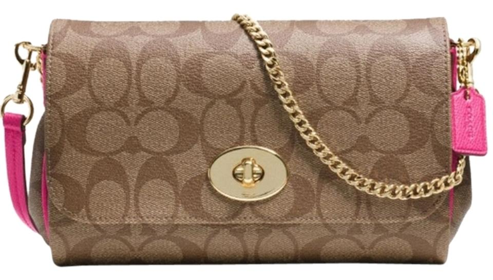 19e5e78132e3 Coach Ruby F34615 Mini Khaki Pink Ruby Signature Canvas with Leather Trim  Cross Body Bag 54% off retail