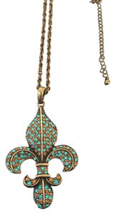 Other Bronze and turquoise rhinestone fleur de lis necklace