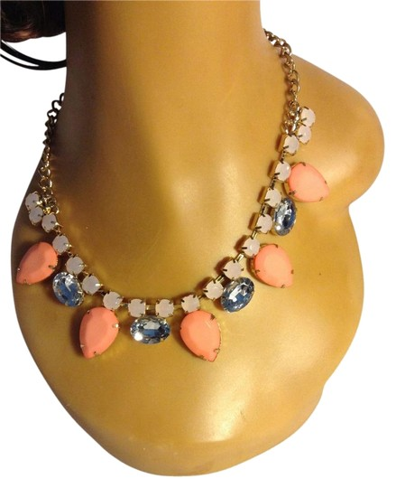 Other Trendy Peach Color Stones with Crystals Statement Necklace 0052531