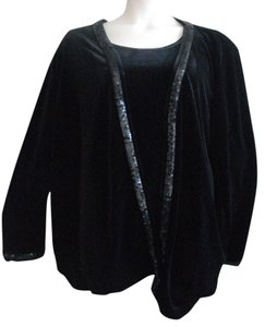 Quacker Factory Nwt Twin Set Velvet Finish Cardigan