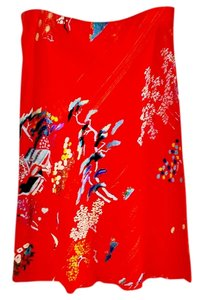 Mieka Asian Machine Washable Bright Skirt red