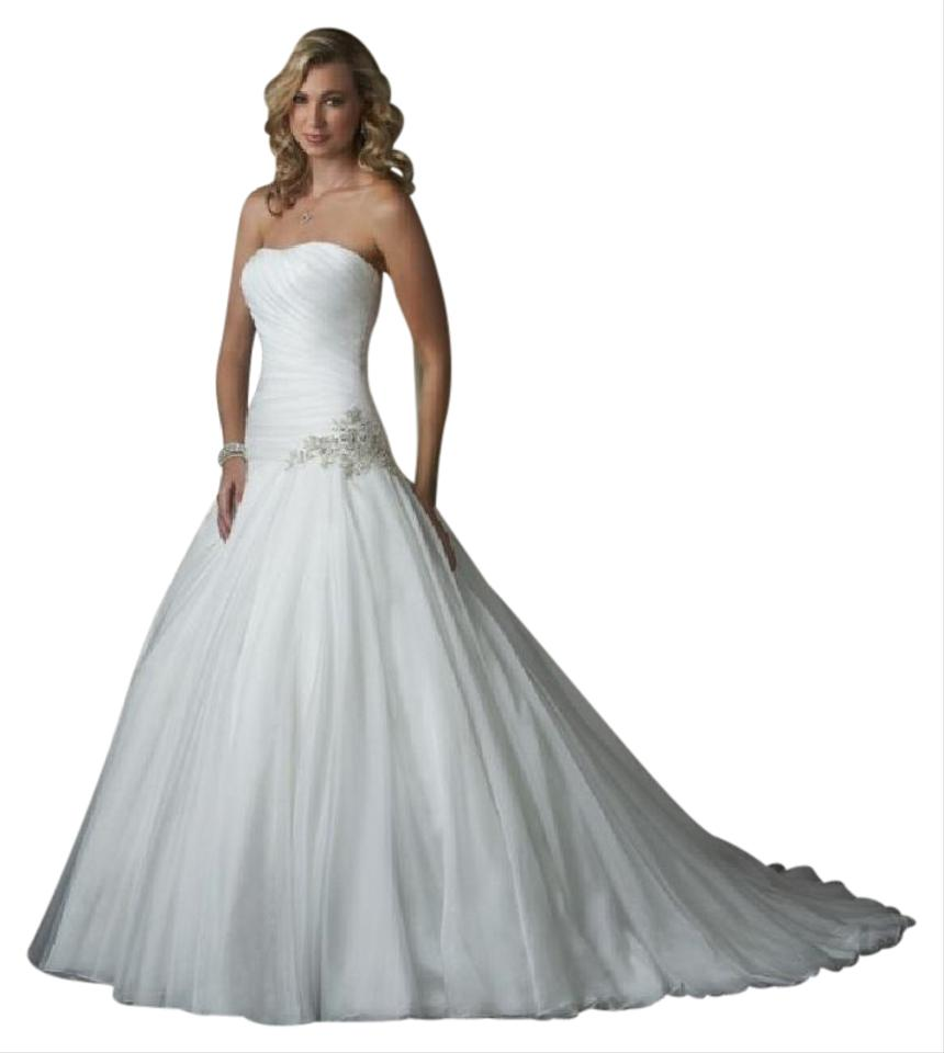 Bonny Bridal White Silk Organza Ball Gown Wedding Dress Size 8 (M ...