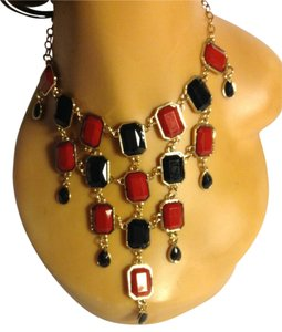 Ruby Red and Black Dangling Layered Statement Necklace