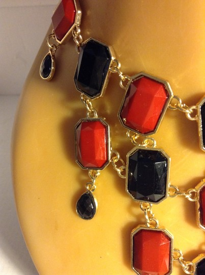 Other Ruby Red and Black Dangling Layered Statement Necklace