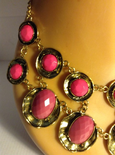 Other Metal and Acrylic Mauve and Pink Statement Necklace