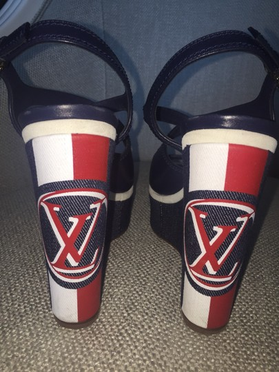 Louis Vuitton Navy, White, And Red Wedges