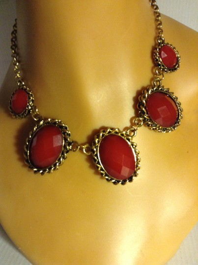 Other Burgundy Acrylic Statement Necklace
