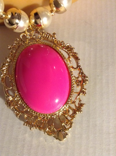 Other Faux Peal Necklace with Hugh Bold Pink Pendent