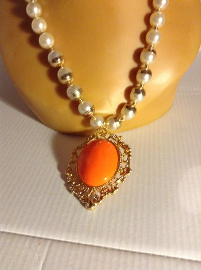Other Faux Pearl Necklace With Hugh Bright Orange Pendent