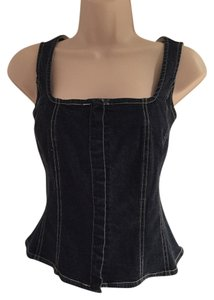 Kenar Denim Denim Tank Top Corset