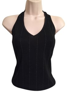 bebe Night Out Sexy Shell Black Halter Top