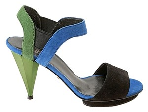 Gucci Liberty Colorblock Suede High Heel Multi-Colored Sandals
