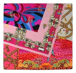 Handmade Medium Square Silk Twill Scarf Pink and Blue Theme Leopard Print 21in x 21in