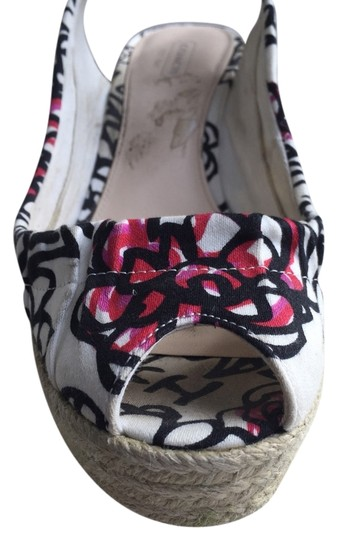 Coach Black, Off White And Pink Flowers Wedges