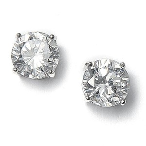 Mariell Silver 8mm Round Cubic Zirconia Stud 708e-cr Earrings
