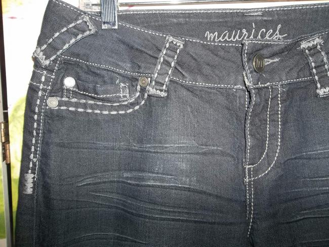 Maurices Dark Rinse Embroidered Large Cotton Blend Like New Skinny Jeans-Dark Rinse