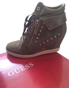 Guess Golden Brown Suede Wedges