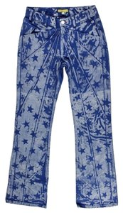 Catherine Malandrino Star Print Metallic Boot Cut Jeans-Medium Wash