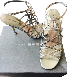 Via Spiga Metallic Steel Gray Sandals